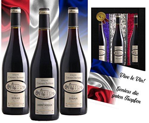 Weingeschenk Frankreich Vintage France 3er Set Syrah, Cabernet Sauvignon Cuvée Rotweingeschenk für Weinfreunde & -kenner mit Geschenkkarte 45 Jahre alte Reben