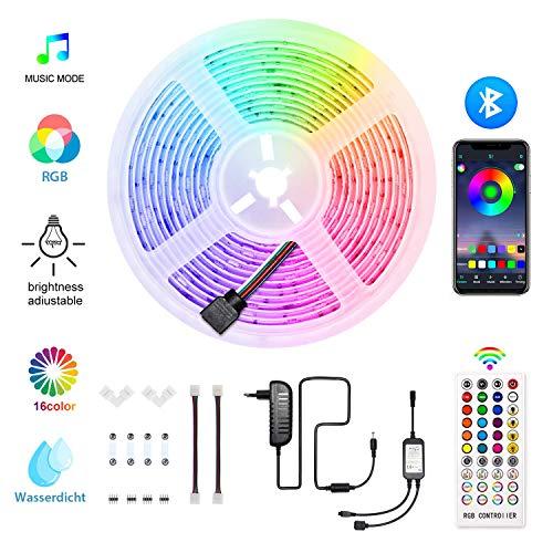 HoMii Bluetooth LED Streifen 5m - RGB LED Strips Sync mit Musik, IP65 Wasserdicht 150 LED 5050 SMD Farbwechsel LED Strip, Smart Bluetooth Kontroller + 40 key Fernbedienung