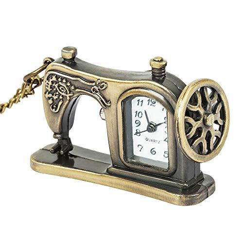 DZNOY Reloj de Bolsillo, máquinas de Coser de aleación de Bronce Antiguo Retro Colgante Cadena Vintage Reloj de Bolsillo (Color : Bronze)