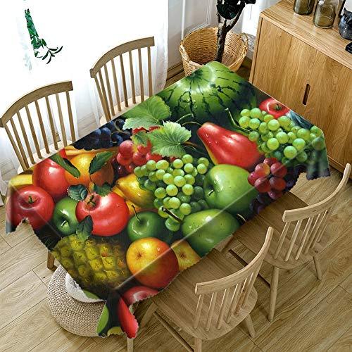 XXDD Mantel 3D Rojo Cereza Amarillo Mango Fruta patrón Mantel a Prueba de Polvo Rectangular Mantel Grueso A3 140x200cm