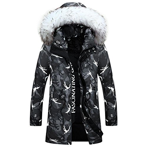 HYHAN Winter-Männer mit Kapuze Camo Daunenjacke Mantel / 3 Farben + Camouflage M-XXXL, Camouflage dust, xxl/185