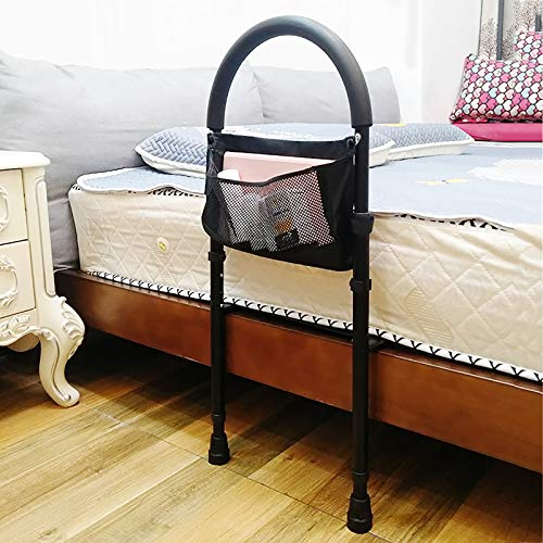 QFF Bedside Standing Assist Grab Bar,Bedside Handrail Anti-Fall Bed Rail,Adjustable in Height,Floor Support,with Storage Bag,for Medical Hospital Home Care