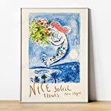 YRZYT Marc Chagall Prints Nice Soleil Fleurs Chagall Poster Cuadros Mid Century Modern French Cuadros Marc Chagall Oil Cuadrohome Canvas Decor Vintage Poster Cuadros