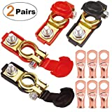 TKDMR 2Pairs Car Battery Cable Terminal Clamps-Connectors - Battery Terminal with Plastice Cover,Good Contact,Corrosion Resistance,Applicated in Car,Van.(Pure Copper Post Battery Terminal)