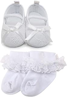 Baby Girl Infant Satin Mary Jane Baptism Shoes Dance Ballerina Slippers