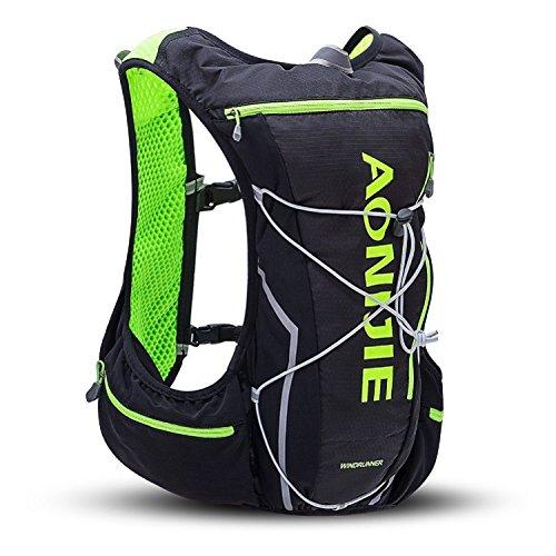 AONIJIE登山リュックザックハイドレーションバッグランニングバッグサイクリングバッグ軽量自転車バックパック10L(L/XL-97-109cm(バスト),ブラック)