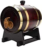 JLDN 3L Barril de Vino, Barril de Madera de Roble Envejecimiento Barril con Grifo con Filtro Revestimiento de Papel de Aluminio sin Fugas para Vino,...