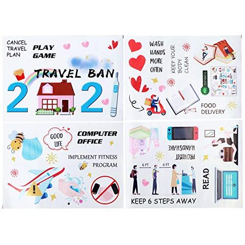 Pegatinas decorativas, 4 unids/set de Wilecolly, pegatina de pared en inglés, conjunto de pegatinas de conmemoración de eventos de 2021, decoración de maleta de equipaje