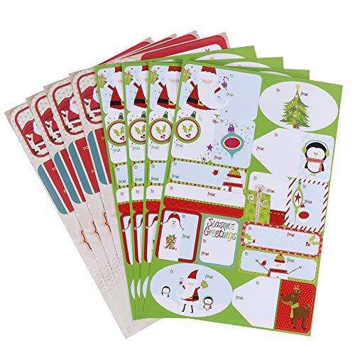 Faburo 120PCS Cartes Stickers Étiquettes Noël Vert et Rouge Merry Christmas Cartes Autocollants pour Cadeau
