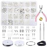 PP OPOUNT Kit de 2084 piezas para hacer joyas, para principiantes, para hacer cuentas, incluye alicates y herramientas de alambre para hacer joyas y reparar