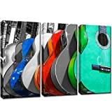 KLVOS 3 Panel Music Wall Art Colorful Guitar Pictures Canvas Prints for Living Room Still Life Wall Decor Modern Home Decoration Stretched Ready to Hang 32x48inch
