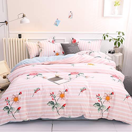 Boqingzhu Bettwäsche Blumen 135x200cm Rosa Weiß Blumenmuster Blümchen Romantisch Gestreifte Wendebettwäsche Set Microfaser Bettbezug und Kissenbezug 80x80cm mit Reißverschluss