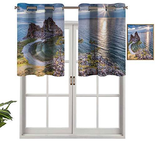 Hiiiman Panel de cortina de cenefa recta, con ojales de alta calidad, con diseño de rayos de sol, 106,7 x 60,9 cm, ideal para cualquier habitación y dormitorio
