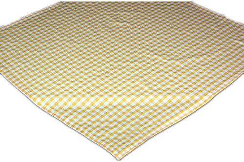 Pflegeleichte Tischdecke Decke Unterdecke Eckig Gelb Weiß Karierte Gartendecke Küchendecke Landhaus (Mitteldecke 110x110 cm quadratisch)