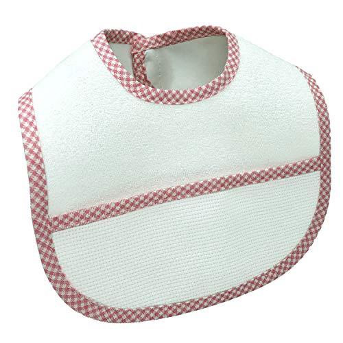 Bavaglini Neonata Impermeabili da Ricamare Punto Croce Tasca in Tela Aida MADE IN ITALY Cotone Plastificati Assorbenti con Velcro per Rigurgito, Dentizione 0-12 Mesi Bambina 3 PZ Rosa Arancione Rosso