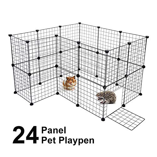 Cocoarm Pet Playpen for Small Animal Portable DIY Puppy Kennel Metal Grid Cage with Door and Cable Tie Indoor Outdoor Exercise Pen Play Yard for Guinea Pig Cat Rabbit Ferret Bunny, Black