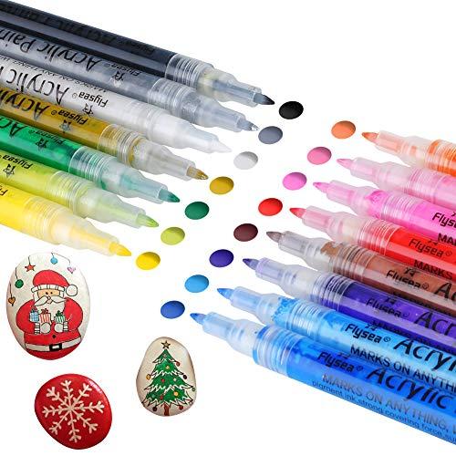 COSANSYS Wasserfeste Acrylstifte Marker Stifte Set 15 Farben Steine Bemalen Stifte für Stein, Acrylfarben Stifte für Scrapbooking, DIY Fotoalbum,Gästebuch,Papier, Glas, Kunststoff, Keramik usw