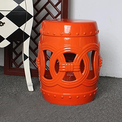 XC Taburete De Jardín Decorativo De Cerámica Decoración del Balcón del Patio, La Mesa Lateral De Tambor Fácil De Limpiar, Máx. 240 Lbs Y Impermeables, L11 x H17(Color:A)