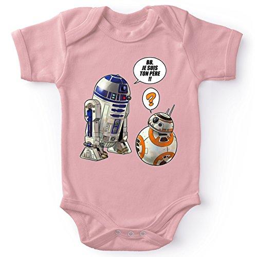 Body bébé Manches Courtes Filles Rose Parodie Star Wars - BB-8 et R2-D2 - BB, Je suis Ton père.!! (Body bébé de qualité supérieure de Taille 6 Mois - imprimé en France)