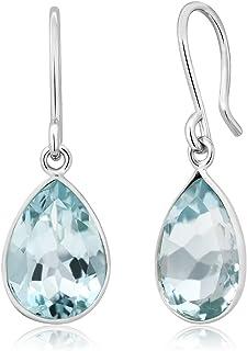 Gem Stone King 925 Sterling Silver Swiss Blue Topaz Dangle Earrings For Women (6.00 Cttw, Gemstone Birthstone 12X9MM Pear ...