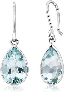 Sterling Silver Swiss Blue Topaz Gemstone Birthstone Frenchwire Dangle Earrings (6.00 cttw, 12X9MM Pear Shape)
