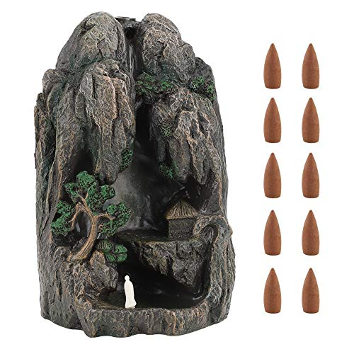 Jingyi Quemador de Incienso, Cascada Torre de montaña Reflujo Resina Soporte de Quemador de Incienso Horno de sándalo con 10 Conos Quemador de Incienso en Cascada