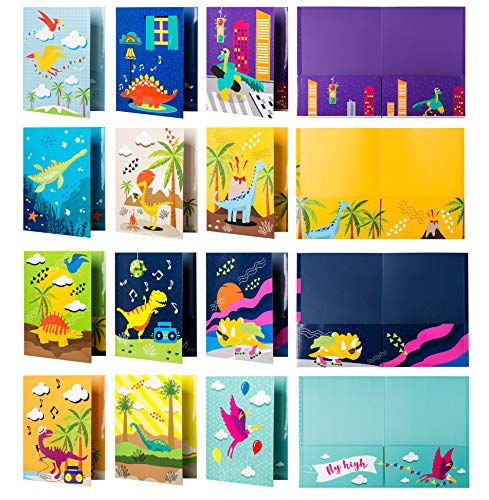 School Folders - 12 Cute Pocket Folders with 12 Unique Dinosaur Designs in Front, Back Cover and Inside - Kids Pocket Folders - Homework Folders - Dinosaur Folders - 12 x 9.25 Inches (Pack of 12)