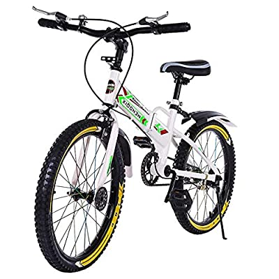 AMZFDC Kids Freestyle BMX Bike, 20in Outdoor Sports Bicycle with Water Bottle Bag Training Wheels Boys Beginner Riders,Level to Advanced Riders, Steel Frame (from US, White)