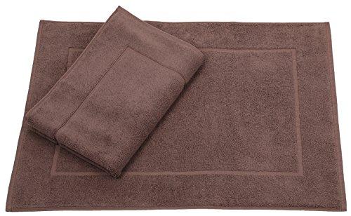 Betz 2er Set Badvorleger Badematte Badteppich Duschvorleger Frottee Größe 50x70 cm 100% Baumwolle Premium Qualität 650g/m² Farbe nuss