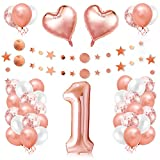 1er Cumpleaños Globos, Decoración de Cumpleaños 1 en Oro Rosa, Cumpleaños 1 Año, Feliz Cumpleaños Decoración Globos 1 Años, Decoracion Cumpleaños para Niñas y Mujeres