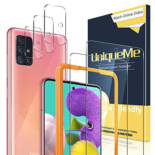 UniqueMe [2+3 Pezzi Pellicola Protettiva Compatibile con Samsung Galaxy A51 4G   5G + Pellicola Fotocamera Compatibile con Samsung A51 Vetro Temperato con Un Perfetto Servizio Post-Vendita.