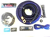 Oversized 1/0 Ga OFC AWG Amp Kit Twisted RCA Blue Black Complete Sky High