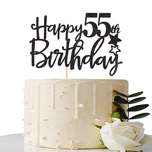 Black Happy 55th Birthday Cake Topper,Hello 55,Cheers to 55 Years,55 & Fabulous Party Decoration