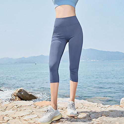 Altura de la Cintura Yoga Pantalones,Las Mujeres empujan hacia Arriba los Pantalones Deportivos Legging de Cintura Alta Pantalones Deportivos Casuales Pantalones de Yoga para Correr-Gray_S