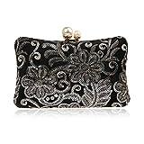 Bolso De Noche Mujeres Bolsos Clutch Vintage para Mujer Bolso Clutch con Lentejuelas Y Bolsos Bolso Elegante con Estampado De Flores-Negro