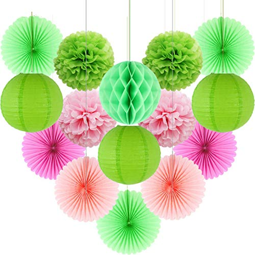 Party Paper Decorations 15Pcs/Lot Hanging DIY Crafts Paper Lantern Tissue Paper Fan Pompoms Flower Honeycomb Ball Birthday Party Nursery Decorations