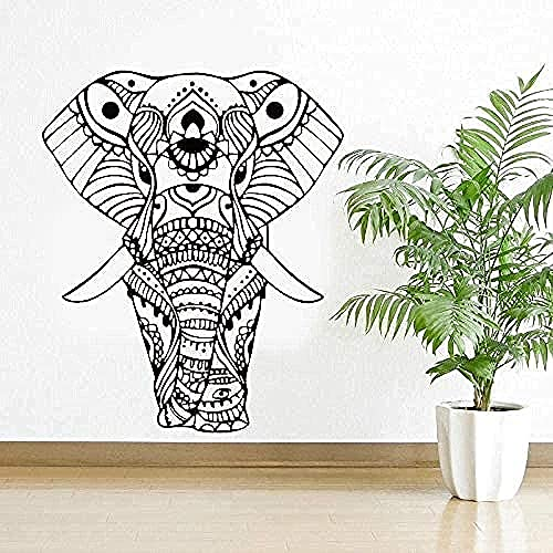 Etiqueta engomada del arte de la pared calcomanía de vinilo para pared DIY Mandala Yoga marco de fotos elefante sala de estar papel tapiz artístico 28 cm x 30 cm