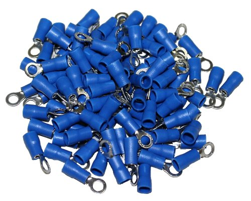 Aerzetix: 100 Kabelschuhe Flachstecker Ring Kabelschuhe 4 mm blau