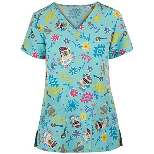 Pflege T-Shirts Damen V-Ausschnitt Kurzarm Shirt Bunt & Einfarbig Kasack mit Ostern Motiv gedruckt Krankenhauskleidung Schlupfkasack Arbeitskleidung Doppelt Taschen Krankenpfleger Nurse Uniformen