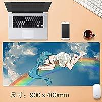 拡張ノートPCのマウスパッドで縫製エッジ、超大型耐久マウスマット、初音ミクアニメのポスターかわいいゲーミングキーボードパッド用ゲーマーワーキングかわいいアニメ漫画レインボー90 * 40センチメートル (サイズ : Thickness: 5mm)