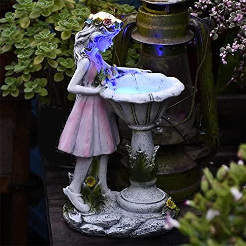Hpory Gartendeko Figuren für Außen Groß Beleuchtet, Solarleuchte Blumenfee Gartenfigur Mädchen Harz Gartenstatue Solar Licht LED Gartenleuchten für Outdoor Außen Garten-17cmx11cmx31cm
