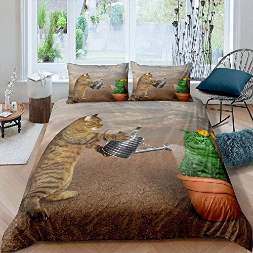 Meimall Double Duvet Cover Sets Brown Sky Cat Flowerpot Duvet Cover Double Duvet Cover Set,3 Pieces Duvet Cover With 2 Pillowcases,Soft Double Bedding Set With Zipper Closure 78X78 Inch