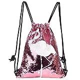 MOOKLIN ROAM Pailletten Rucksack Flamingo, Wende Pailletten Kordelzug Rucksack, Glitter Rucksäcke Magie für Kinder,Turnbeutel, Reversible Flip Pailletten Tasche,Tunnelzug Tanz Tasche für mädchen