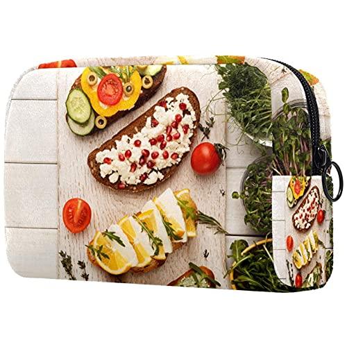Bolsa de Maquillaje compacta Bolsas de cosméticos de Viaje portátiles para Mujeres niñas Neceser,sándwiches integrales y tazones con Micro Verduras
