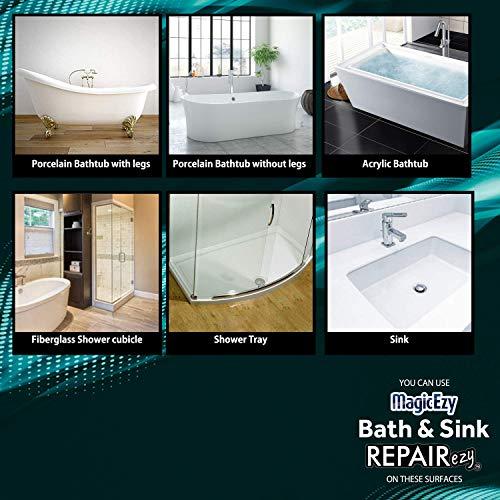 MagicEzy Bath and Sink Repairezy (White): Bathtub Repair Kit - Fix Chips and Scratches Fast - Tub, Shower, Sink, Floor Tiles - Ceramic, Porcelain, Fiberglass, Enamel.- Lifetime Durability Protection