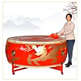 Large Size Cowhide Drum, Golden Dragon Chinese Red Drum, With Drum Stand, Drum Sticks, Traditional Festive Instrument Suitable for 3-8 People, A Good Percussion Instrument (2.0 m 6.6ft)