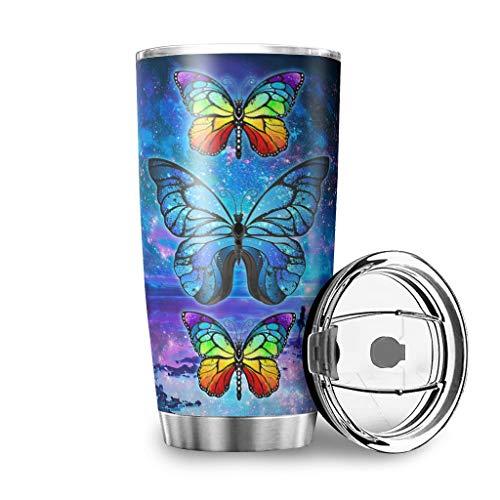 DOGCATPIG Vasos de acero inoxidable de 590 ml con diseño de mariposa, con texto en inglés 'They Whispered To Her Nebula Butterfly Colore', para la familia, color blanco, 600 ml