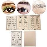 Microblades multiusos tatuaje práctica piel 5 piezas/set, tatuaje ceja práctica piel delineador de ojos ceja labios tatuaje herramienta de capacitación en microblading para principiantes y artistas