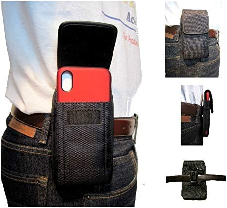 Mgbca Nylon Phone Holster Pouch for iPhone XR, XS, X Fixed Belt Loop Clip Holder, Fits Hybrid Or Slim Fit Case On Cell Phone (Vertical)