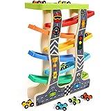 Lewo Juguetes para niños pequeños Racer de madera de la rampa para 1 2 3 años de edad, niñas niños Pista de carreras de madera con 8 mini coches